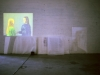 Selfportrait as Sara and Lila, installation with plexiglass, bubblewrap, woodcutprints and video projection, Gallery Forum Box, Helsinki, 2000, photo Päivi Eronen